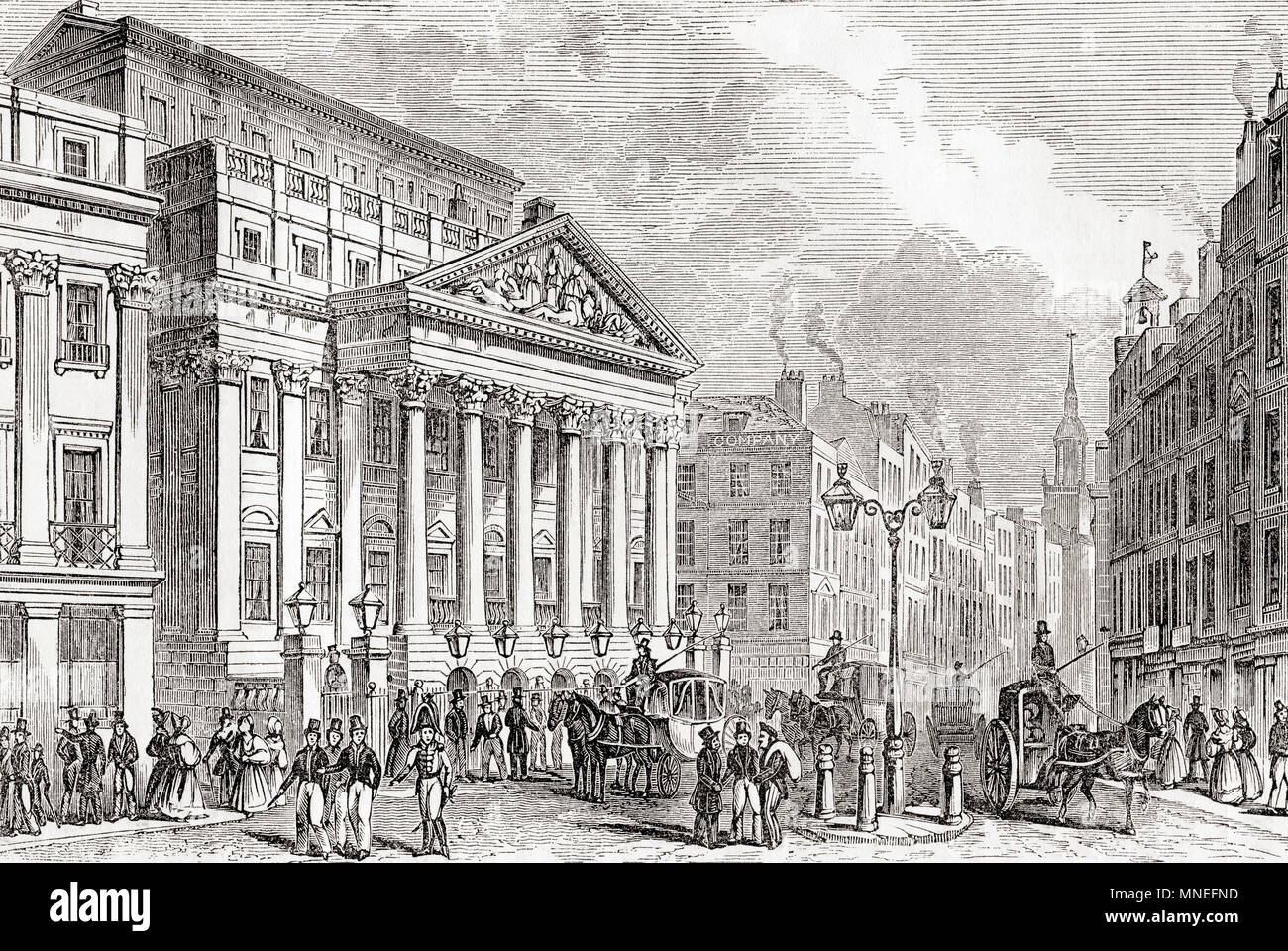 Mansion House, London, England, seen here in the early 19th century.  It is the official residence of the Lord Mayor of London.  From Old England: A Pictorial Museum, published 1847. - Stock Image