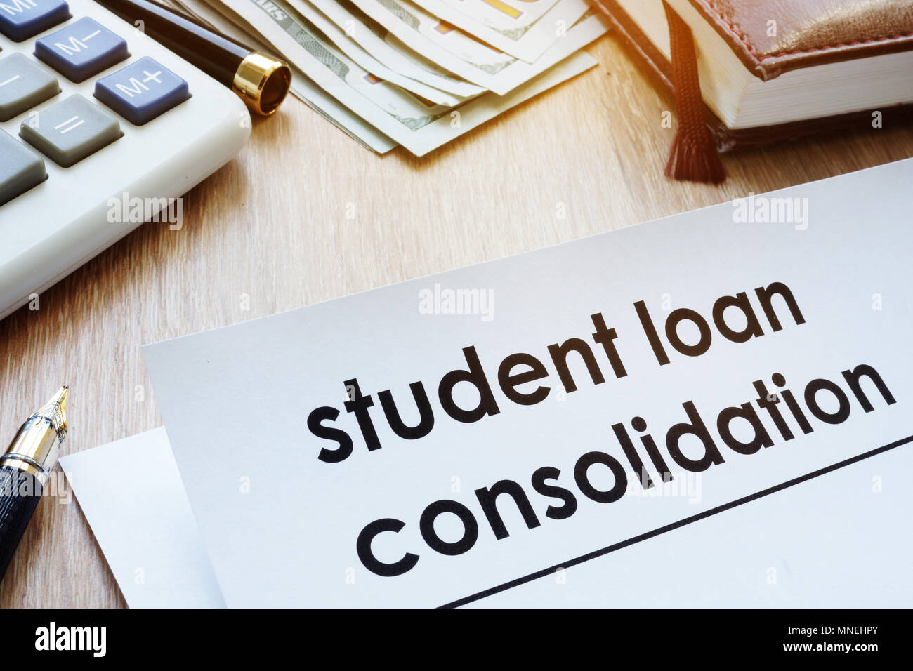 Student Loan Consolidation >> Student Loan Consolidation Form On A Desk Stock Photo 185332755 Alamy