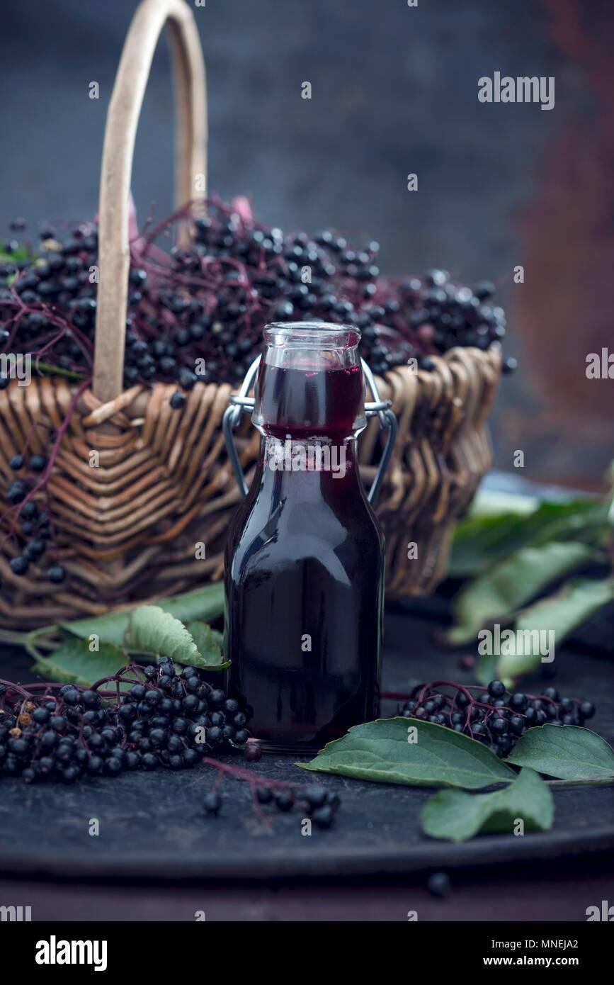 6d7fc772d652 Black elderberry syrup Stock Photo  185333178 - Alamy