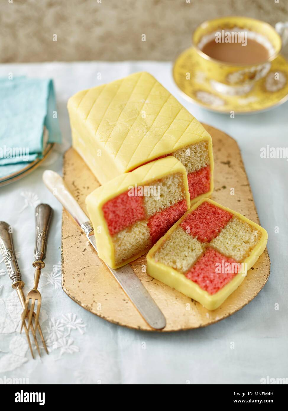 Classic Battenberg with slices - Stock Image