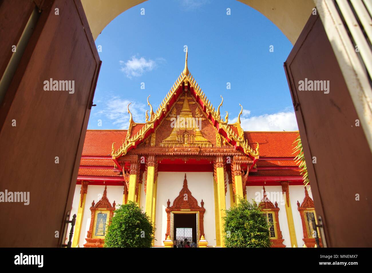 Chuech in Pratart Renu temple Nakornpanom province Thailand as place of Buddha went there in ancient - Stock Image