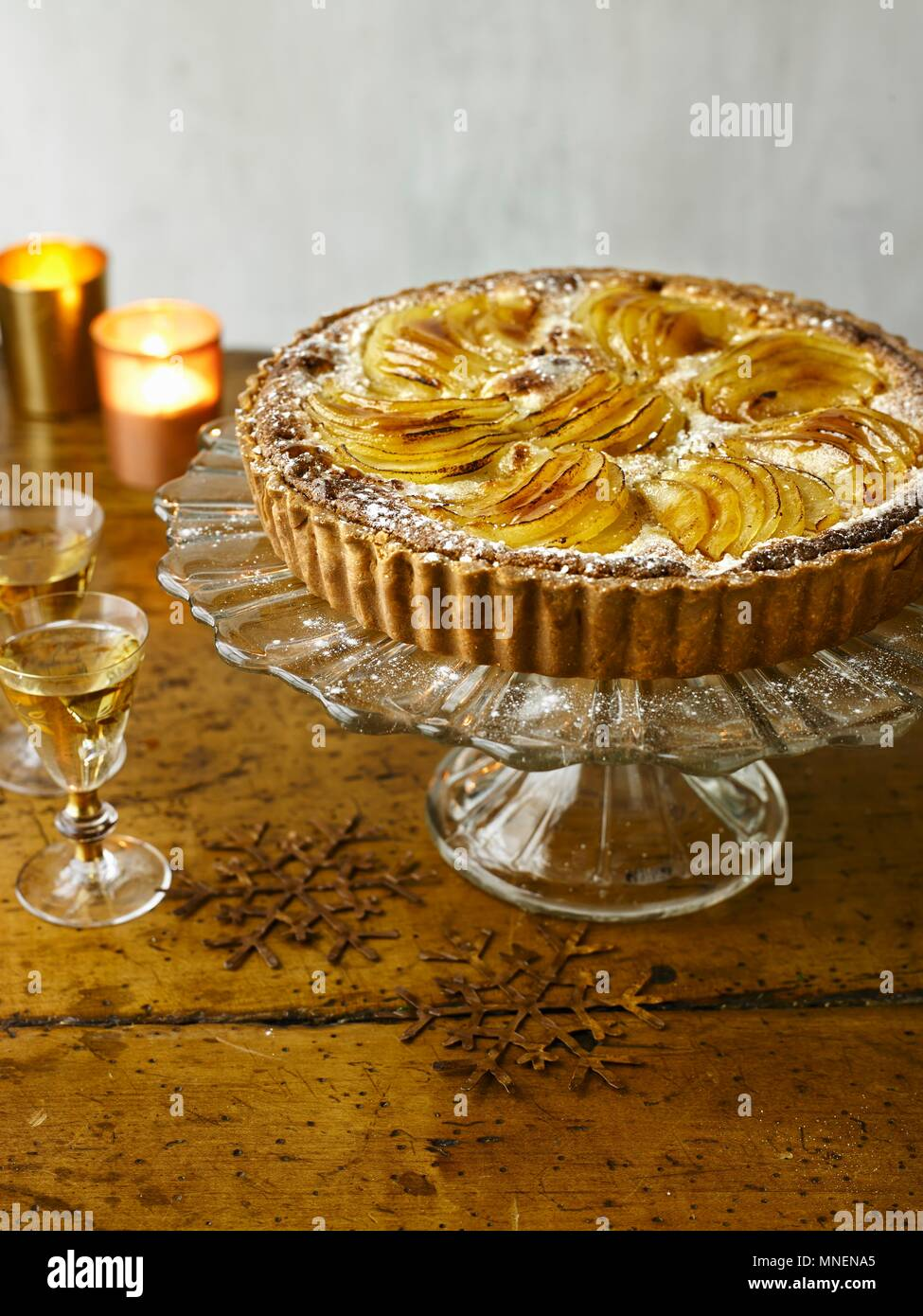 Pear, Almond Tart with Cinnamon Icecream - Stock Image