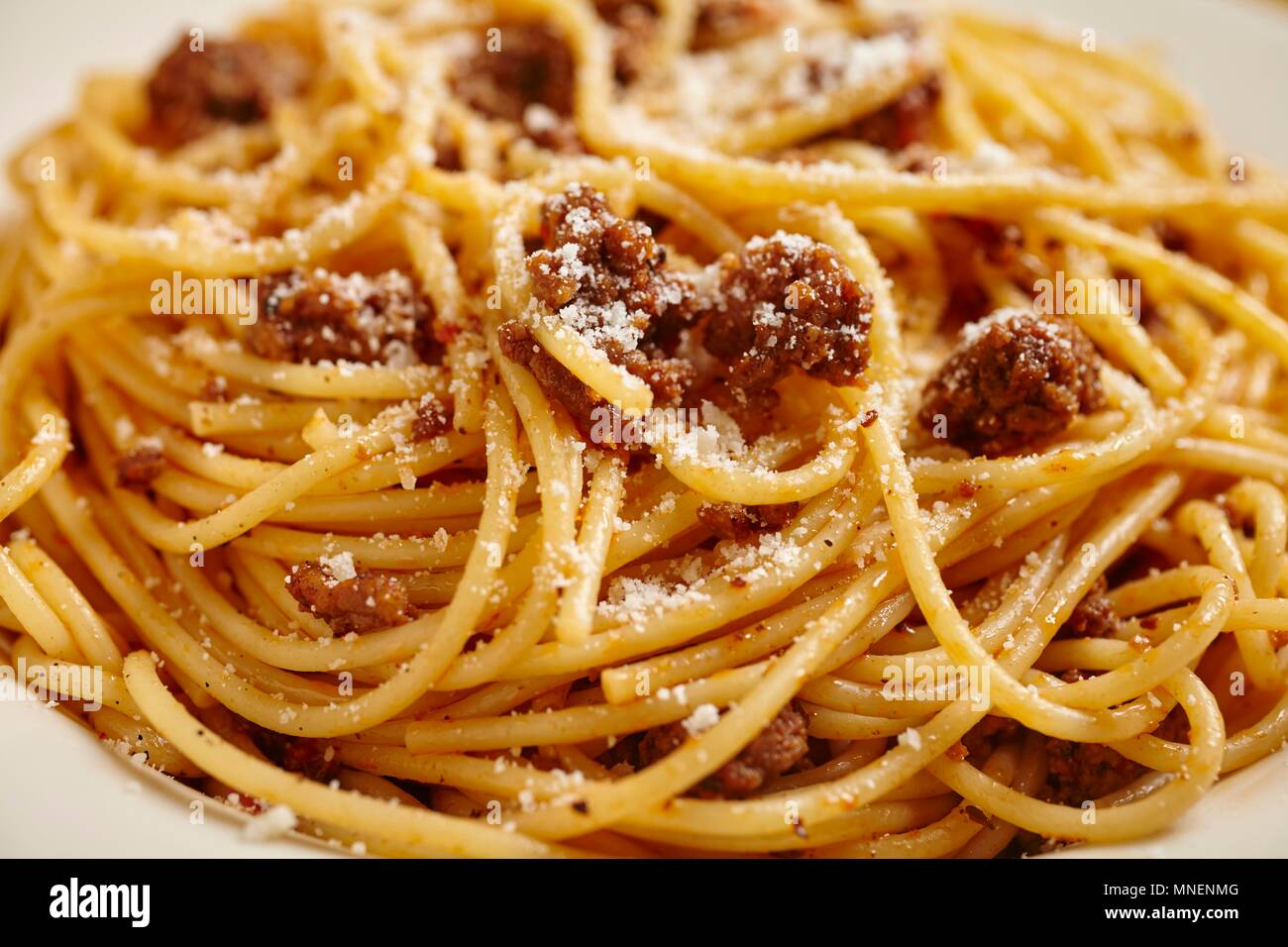Spaghetti With A Minced Meat Sauce And Parmesan Close Up Stock Photo Alamy