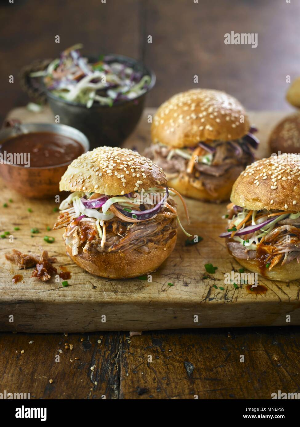 Maple Mustards Pulled Pork Buns - Stock Image