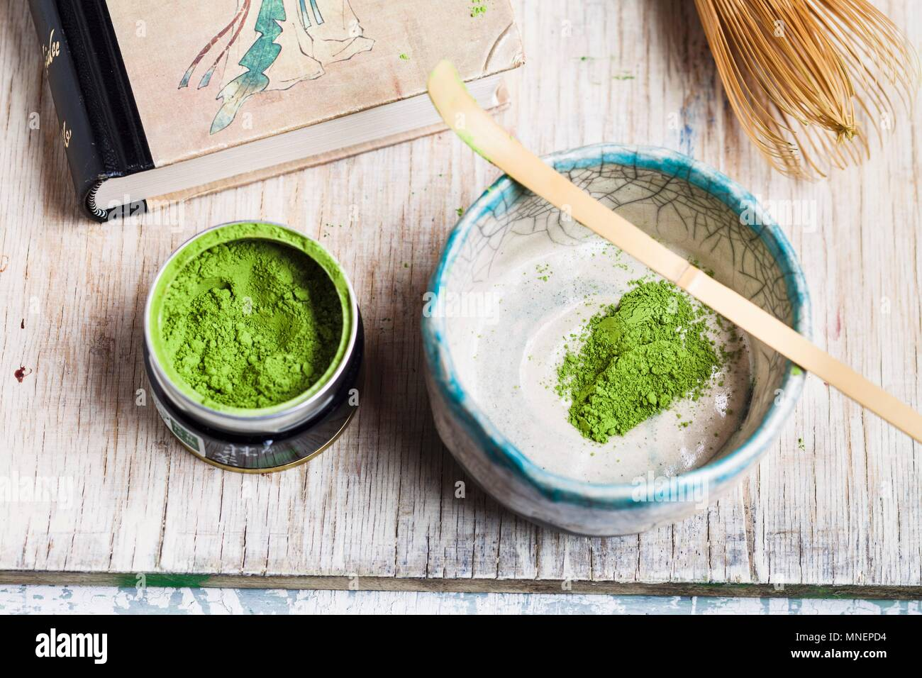 Matcha tea being prepared - Stock Image