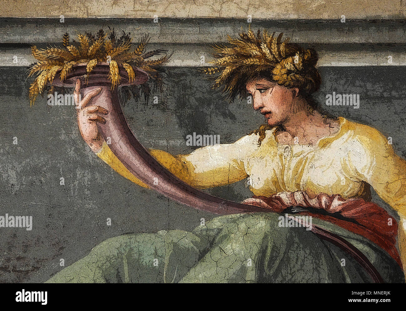 Figure of Ceres holding wheat, Renaissance mythological scene in the Frieze of the Hall of Perspectives (rendered in PS), by  Peruzzi, Rome, Italy - Stock Image