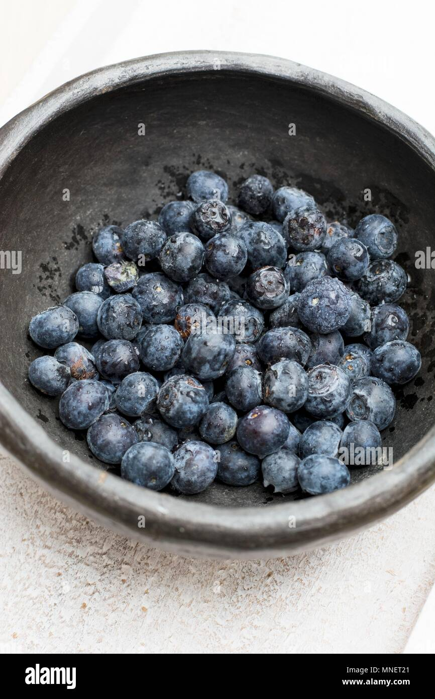 Blueberries in a dish - Stock Image