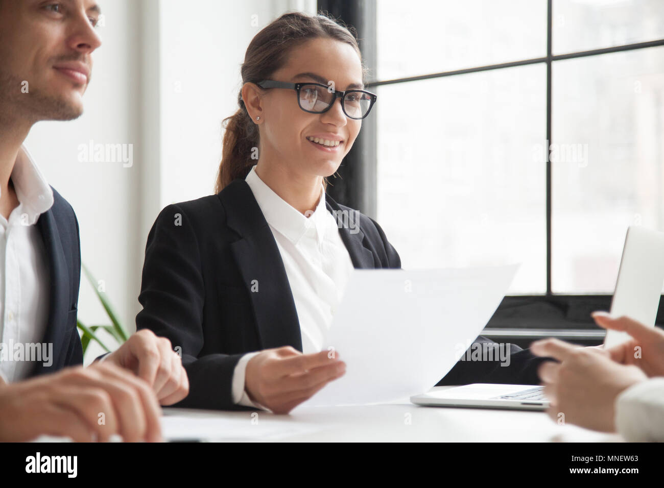 HR representatives listening to applicant thoughts - Stock Image