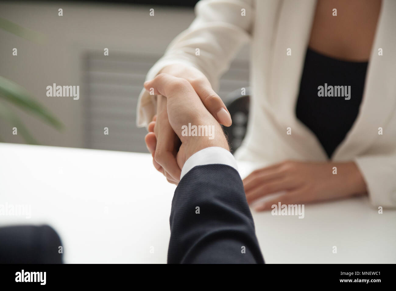 Female worker greeting business partner with handshake - Stock Image
