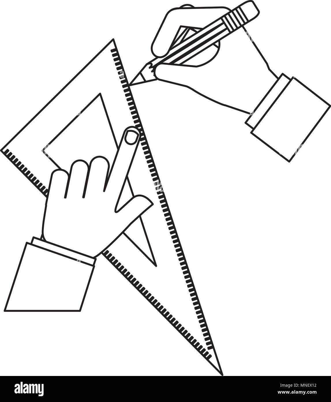 Architect Or Designer Hands With Pencil And Ruler Triangle