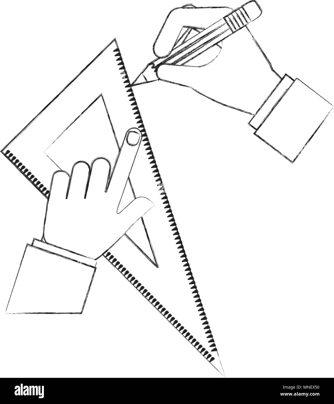hands using rule and pencil - Stock Vector