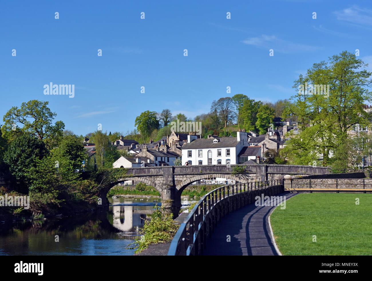 Miller Bridge and the River Kent. Kendal, Cumbria, England, United Kingdom, Europe. - Stock Image