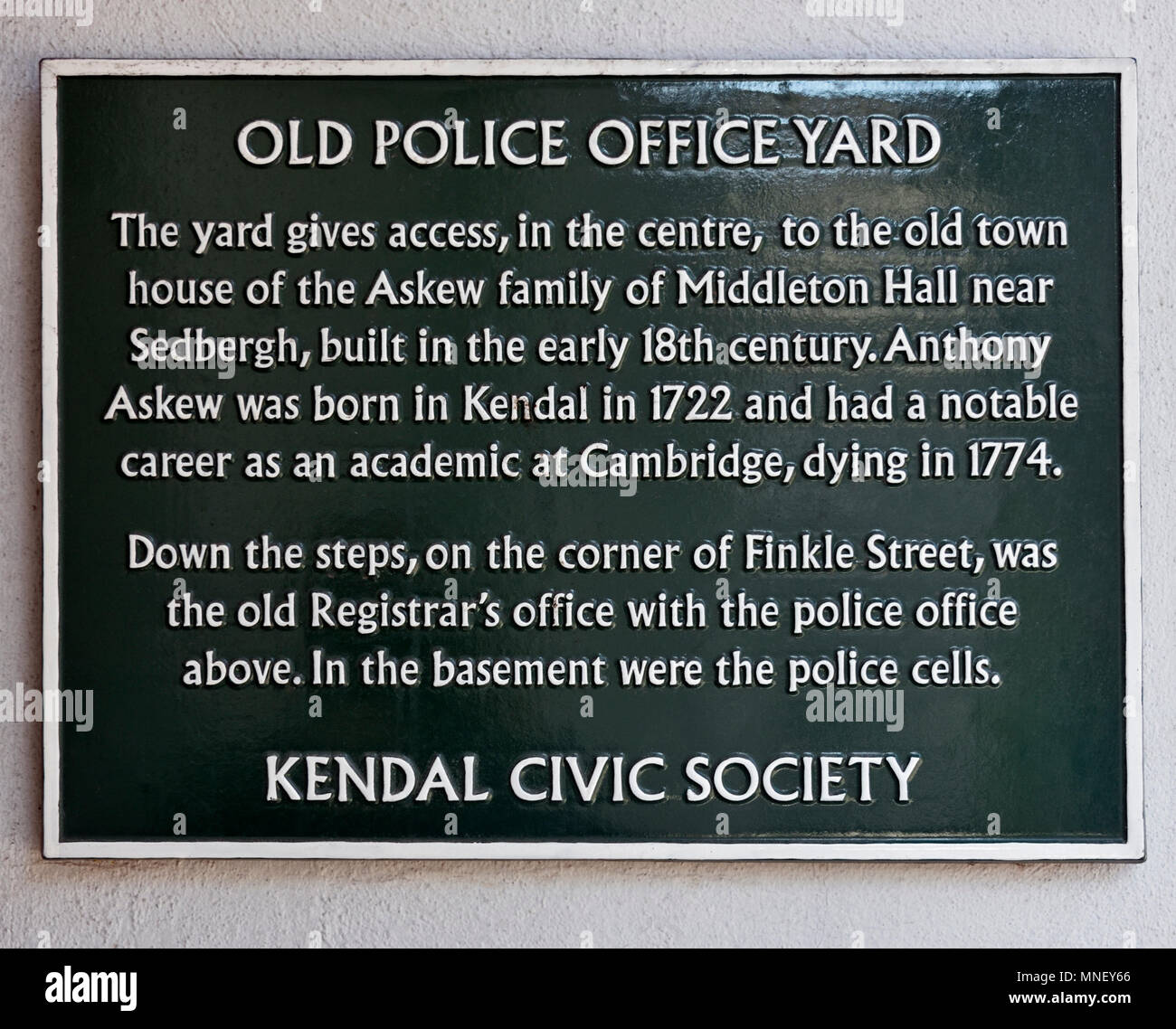 Kendal Civic Society Information Plaque. Old Police Office Yard, Finkle Street, Kendal, Cumbria, England, United Kingdom, Europe. - Stock Image