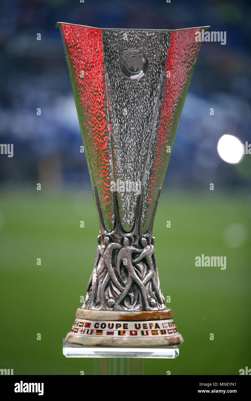 the uefa europa league trophy on display during the uefa europa league final at parc olympique lyonnais lyon press association photo picture date wednesday may 16 2018 see pa story soccer final https www alamy com the uefa europa league trophy on display during the uefa europa league final at parc olympique lyonnais lyon press association photo picture date wednesday may 16 2018 see pa story soccer final photo credit should read nick pottspa wire image185340541 html