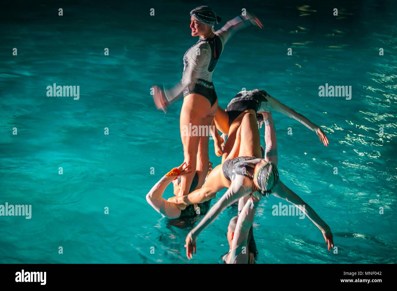 Synchronized aquatic ballet - Stock Image