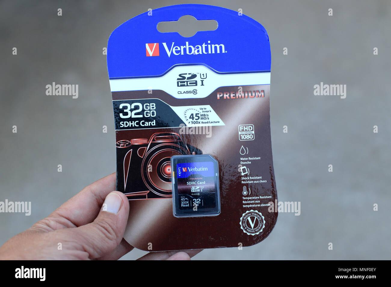 Verbatim 32GB SDHD card - Stock Image