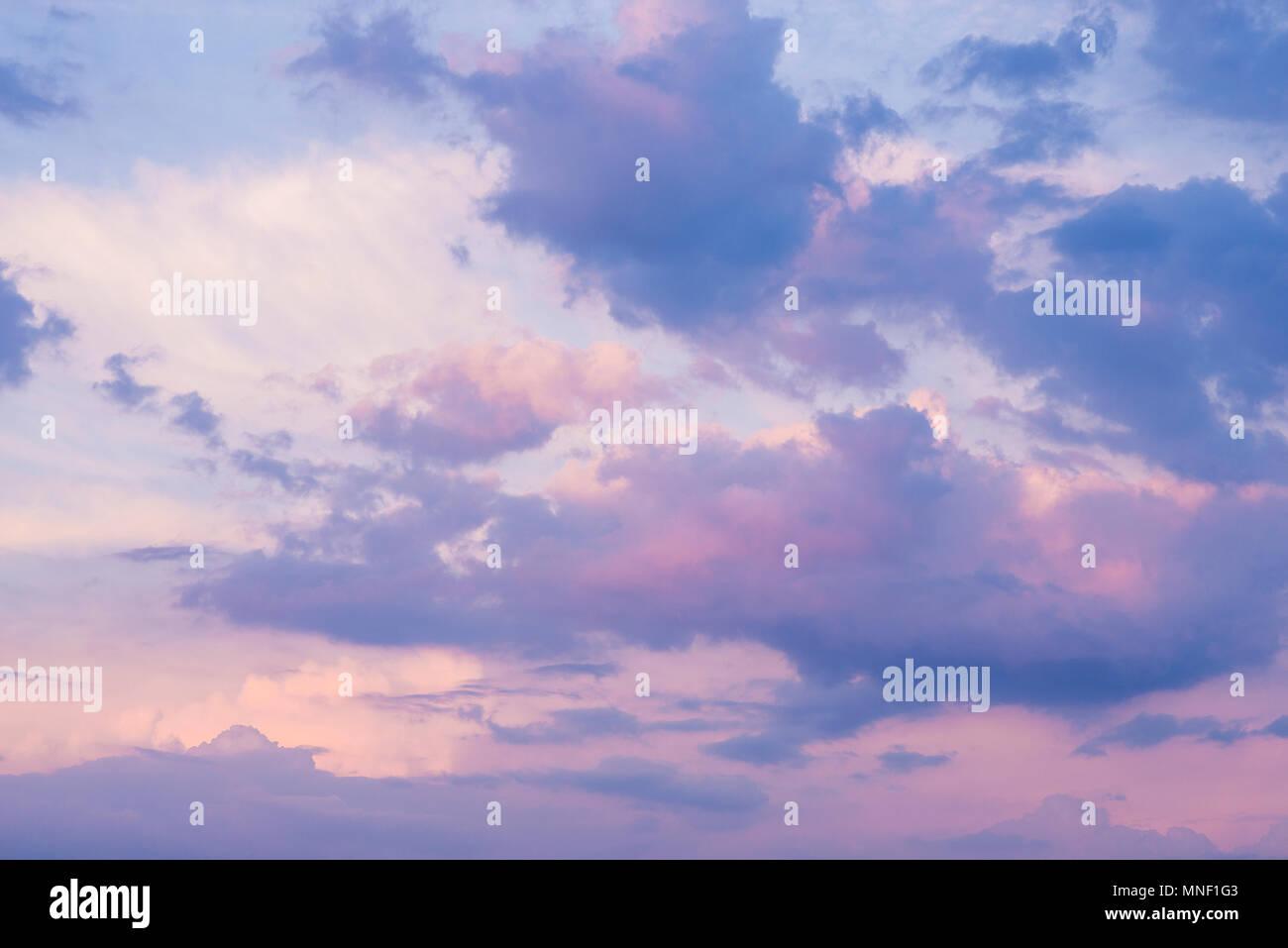Purple cloudy colorful sky horizontal - Stock Image