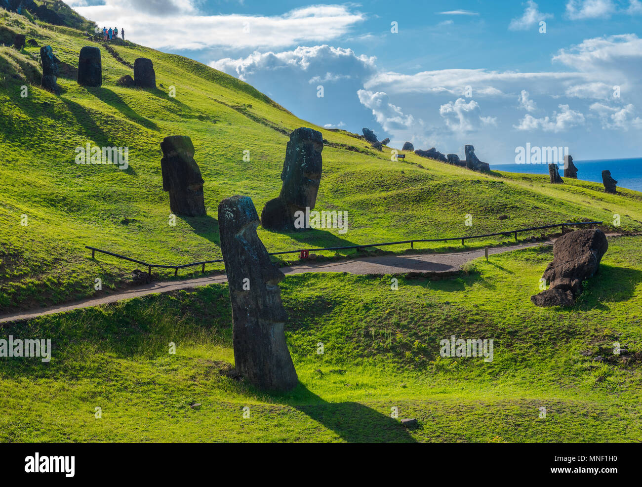Moai statues on Easter Island readdied for transport before being mysteriously abandoned. - Stock Image