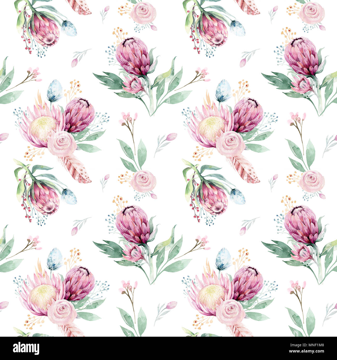 Hand drawing seamless watercolor floral patterns with protea rose hand drawing seamless watercolor floral patterns with protea rose leaves branches and flowers bohemian gold pink pattern prorea background for gre mightylinksfo