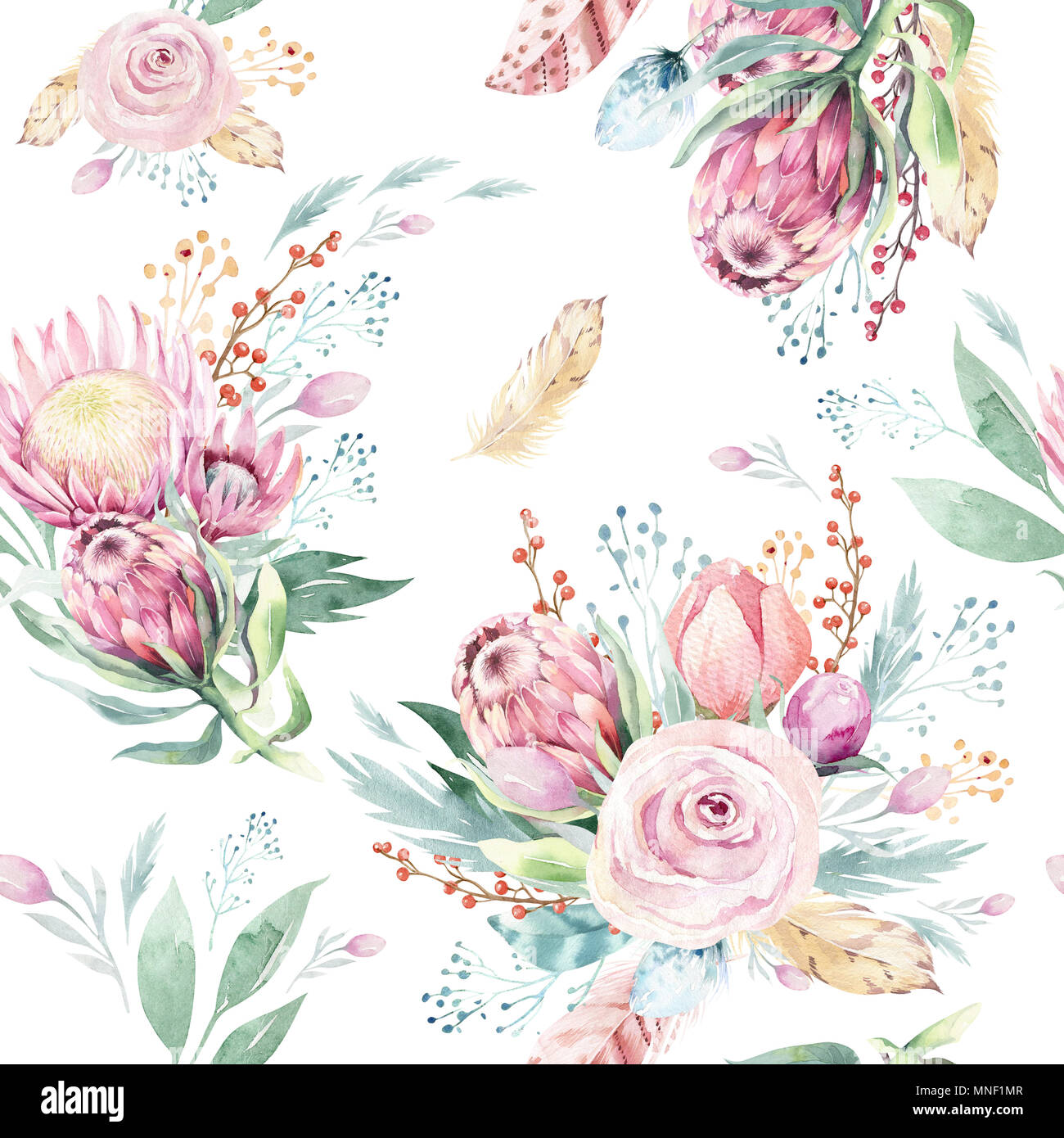 Hand Drawing Seamless Watercolor Floral Patterns With Protea Rose