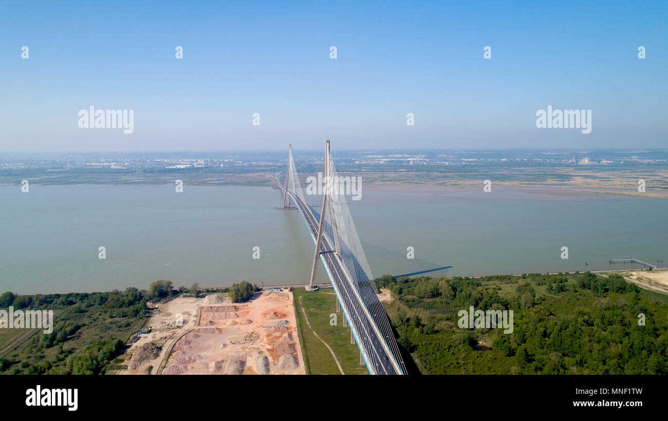 Aerial photography of the Normandy bridge, connecting Le Havre and Honfleur - Stock Image