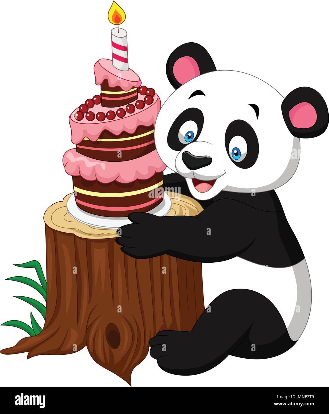 Fine Cartoon Funny Panda With Birthday Cake Stock Vector Art Funny Birthday Cards Online Alyptdamsfinfo