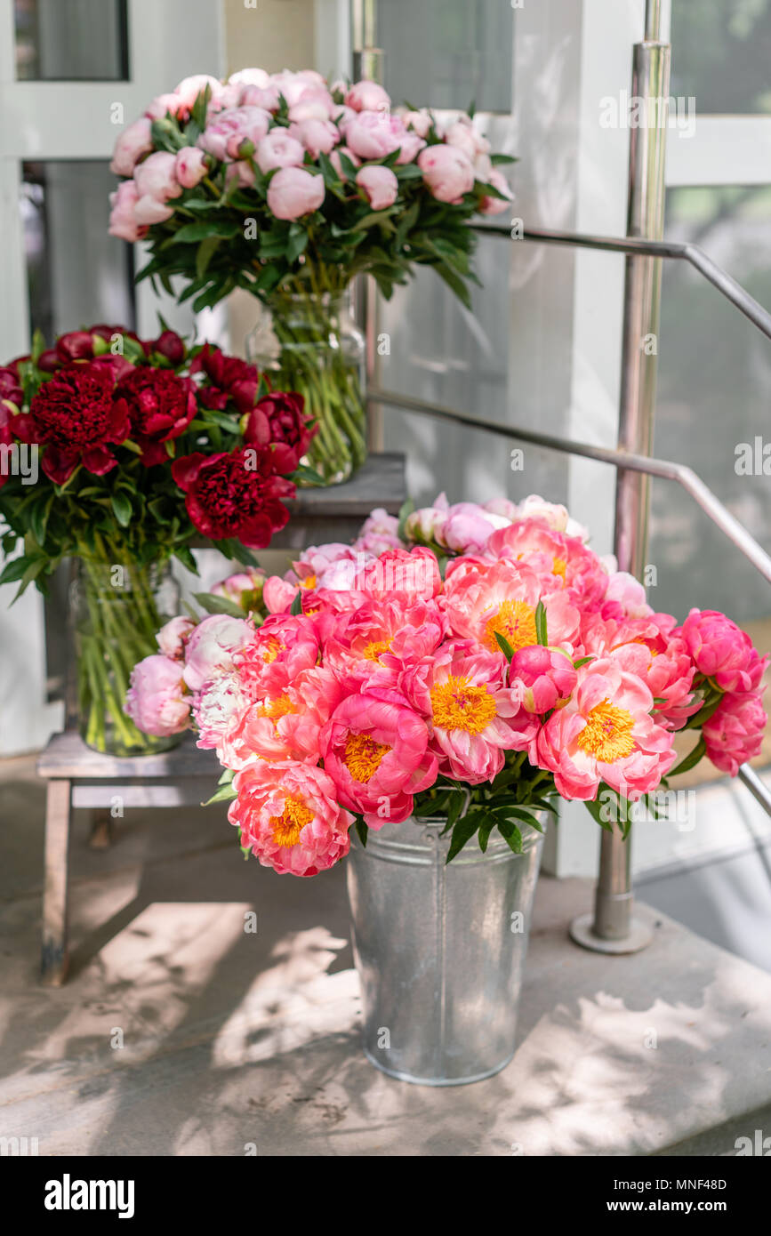Floral Shop Beautiful Bouquet Of Different Varieties Peonies Wallpaper Lovely Flowers In Vases Stock Photo Alamy