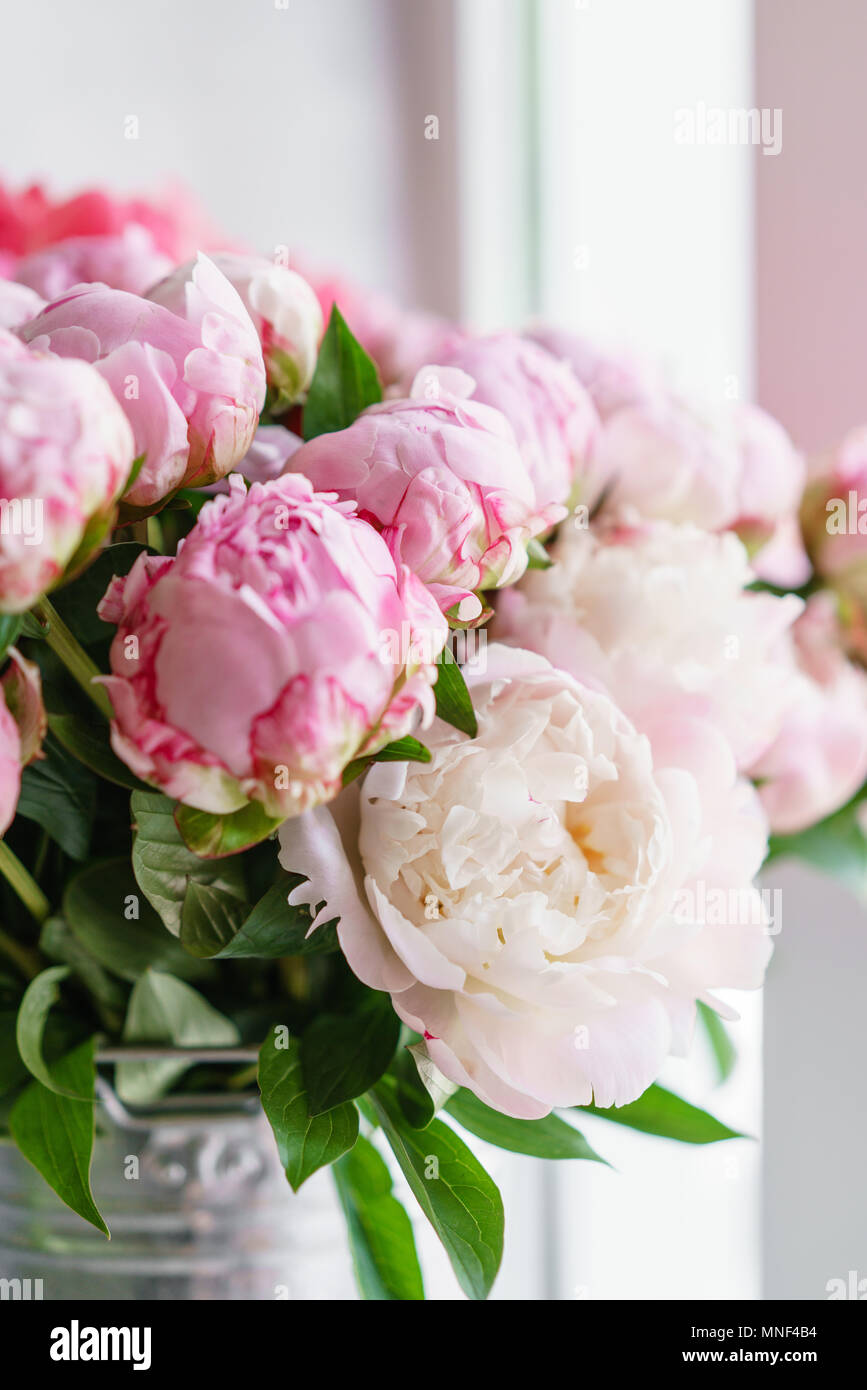 Lovely Flowers In Glass Vase Beautiful Bouquet Of Pink Peonies