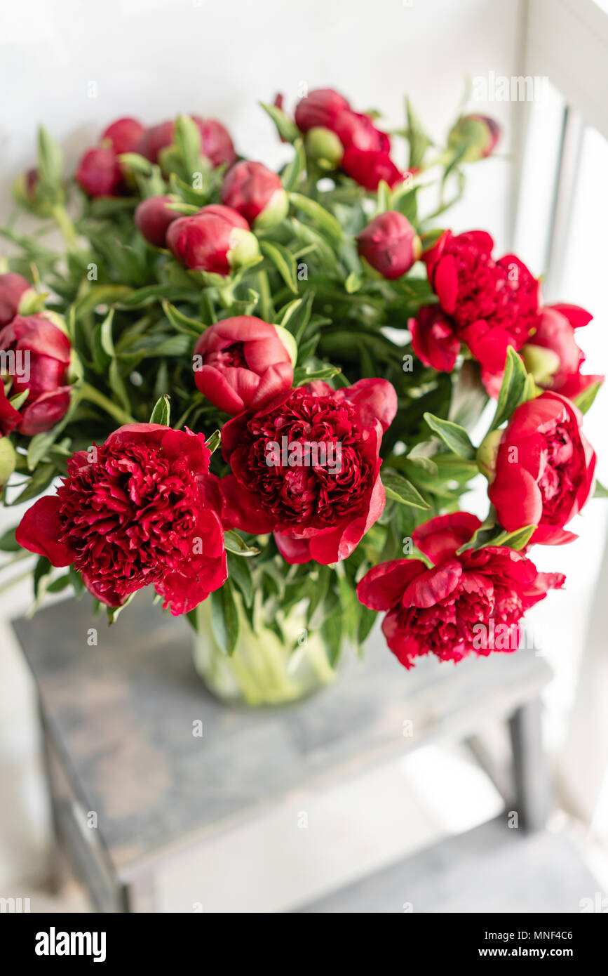 Lovely Flowers In Glass Vase Beautiful Bouquet Of Red Peonies