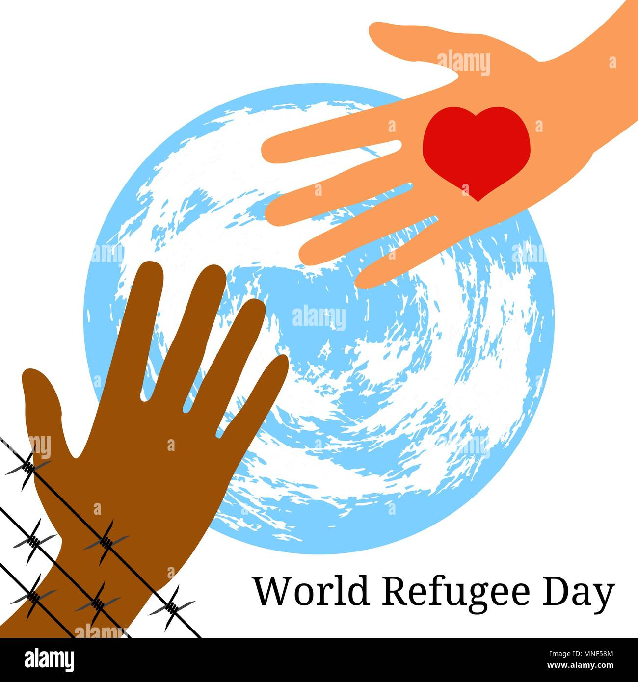 World Refugee Day. Concept of social event. 20 June. The hand behind ...