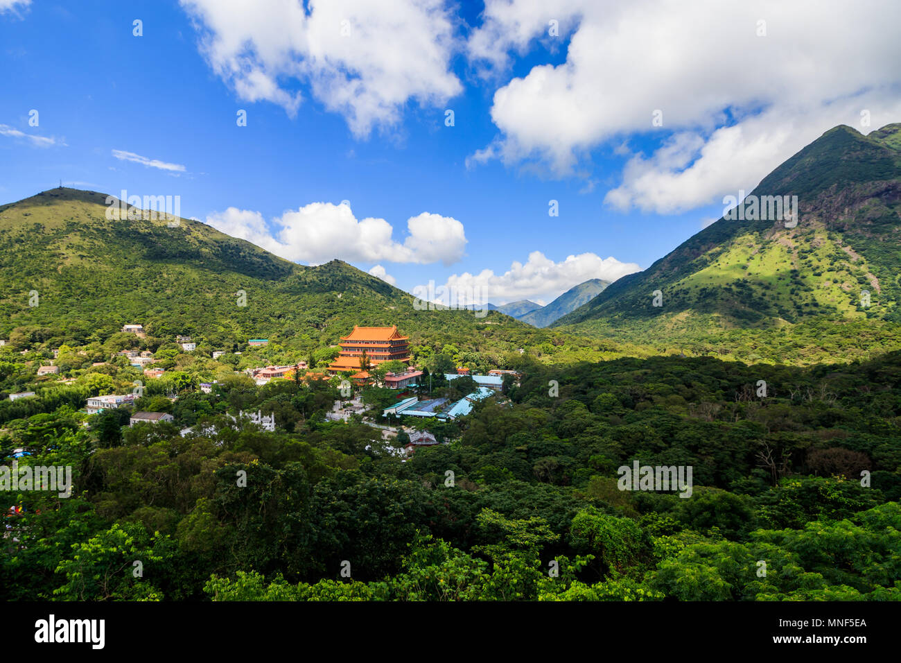 Hong Kong, 12 august 2017 - View of Po Lin Monastery and Mountains - Stock Image