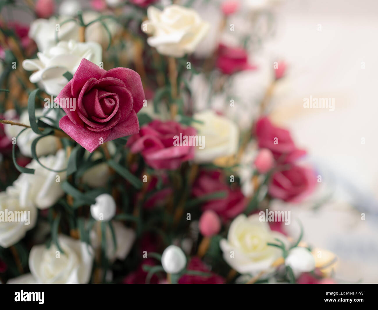 Bouquet Vintage Artificial Red And White Roses Flowers On White