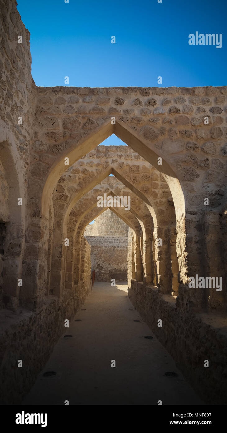 Ruins of Qalat fort near Manama in Bahrain - Stock Image