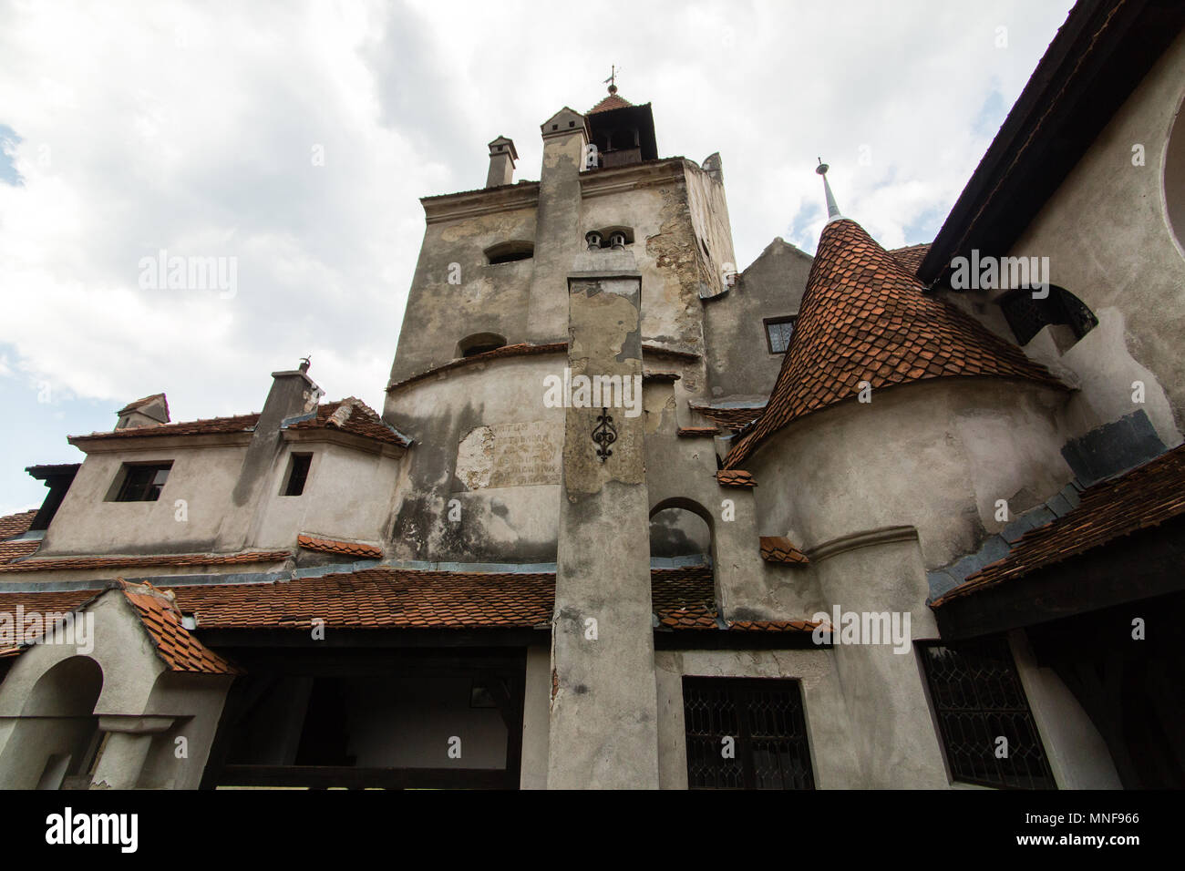 Bran, Romania - JULY 20 2017: The medieval Castle of Bran. The castle guarded in the past the border between Transylvania an Wallachia. It is also kno - Stock Image