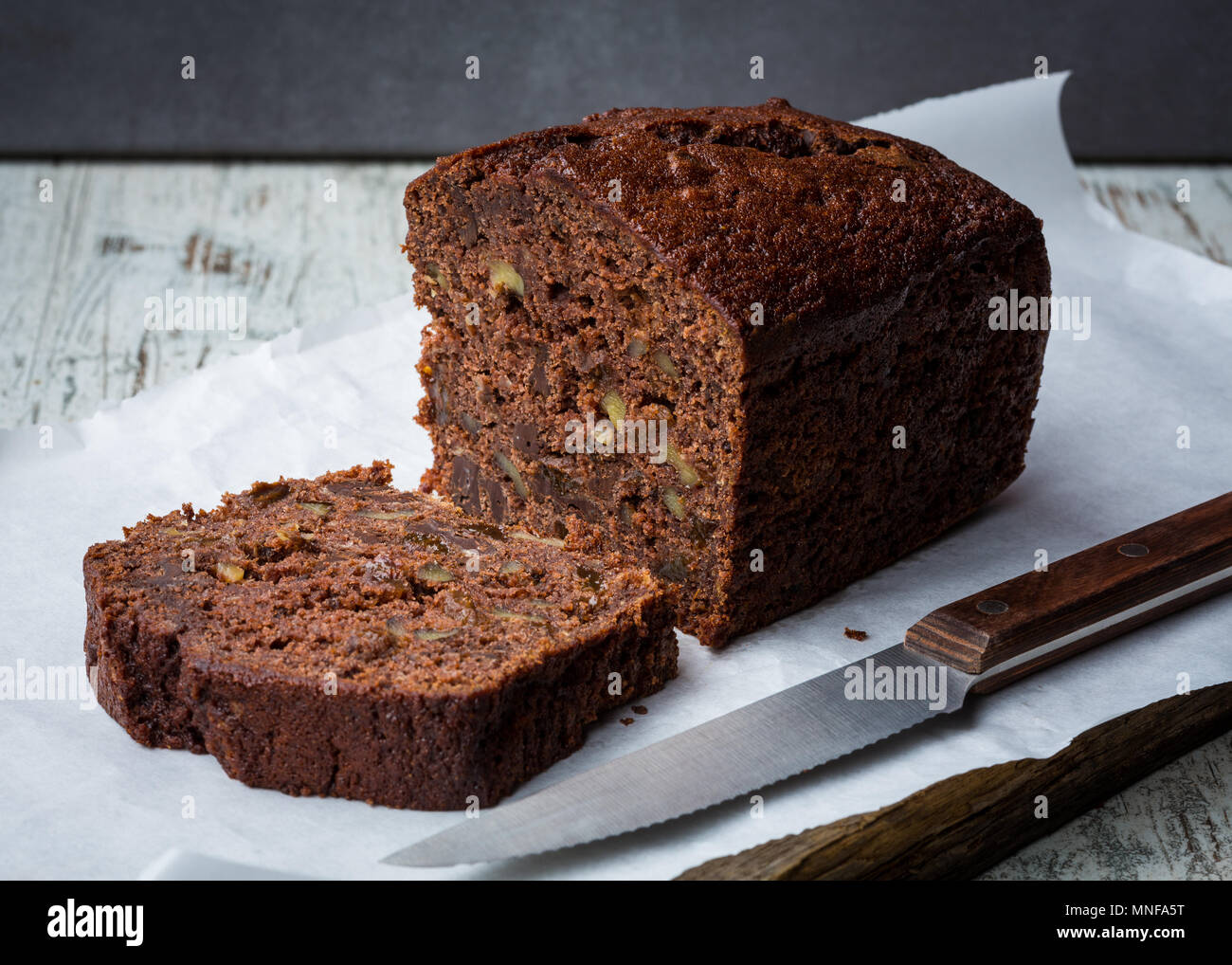 Homemade Chocolate Banana bread - Stock Image