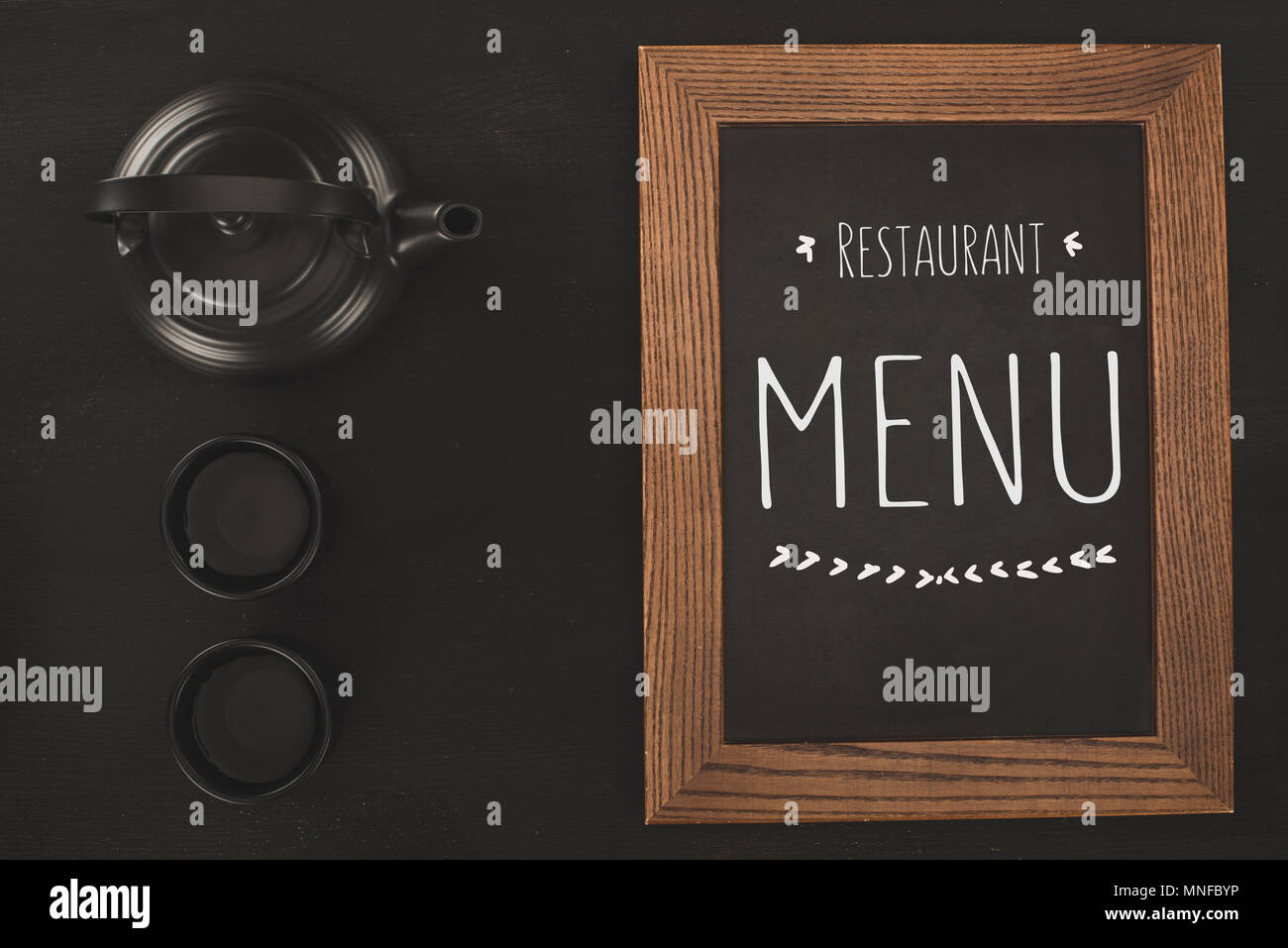 menu and tea set  Stock Photo