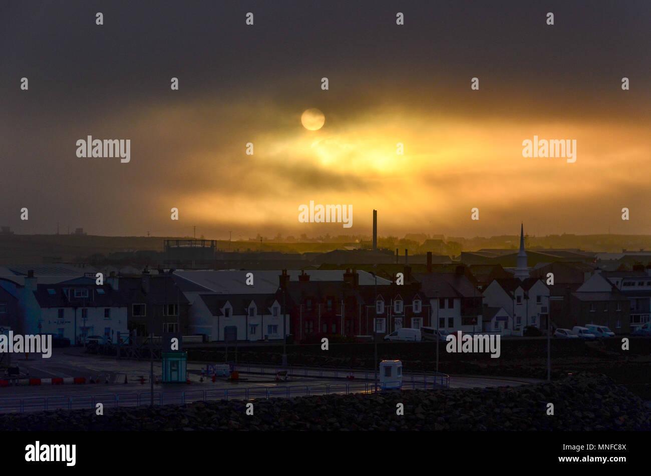 Sunrise over Stornoway, Outer Hebrides, Scotland, UK - Stock Image