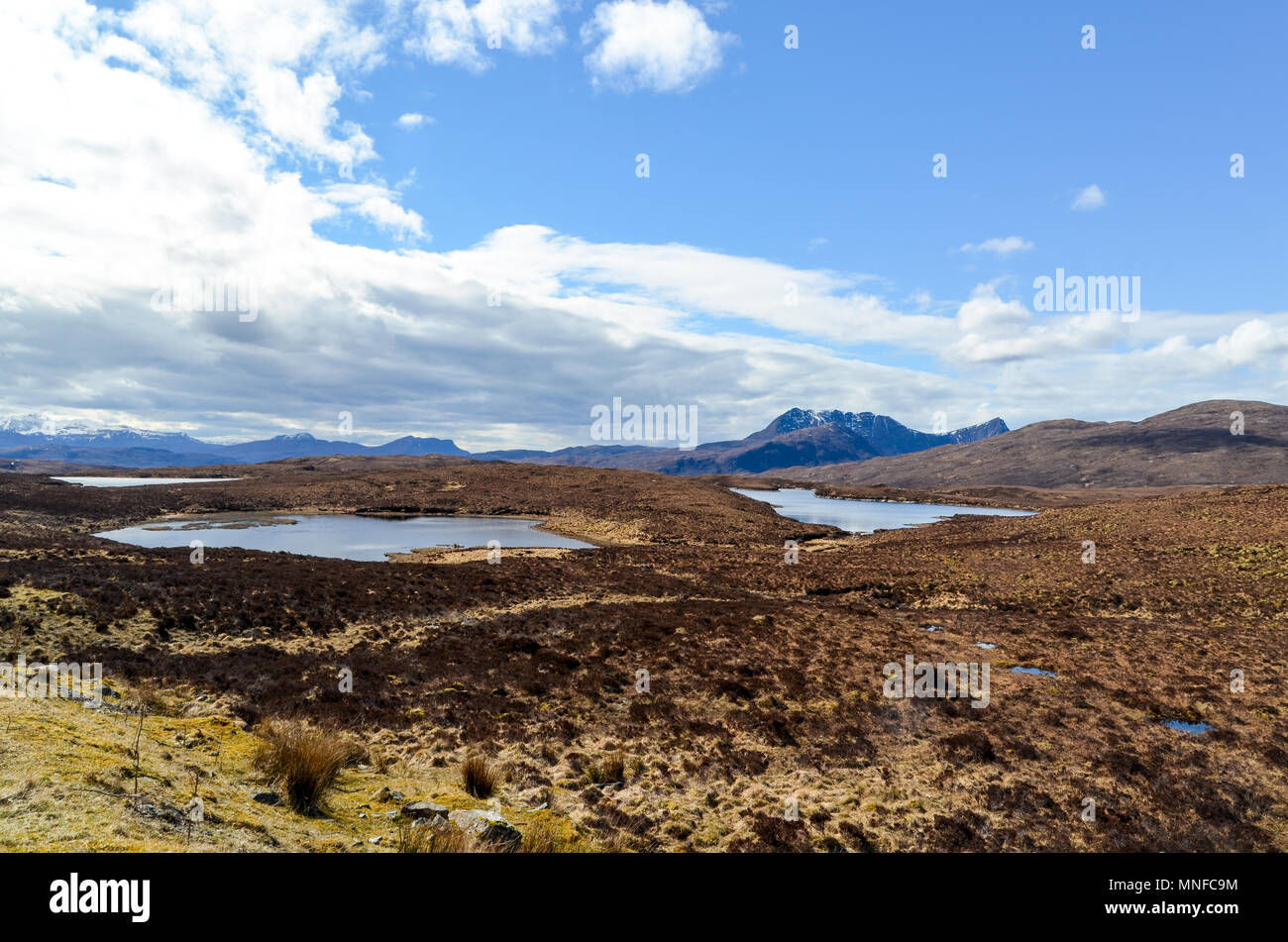 Highland landscape north of Ullapool, in western Ross-shire, Scottish Highlands - Stock Image