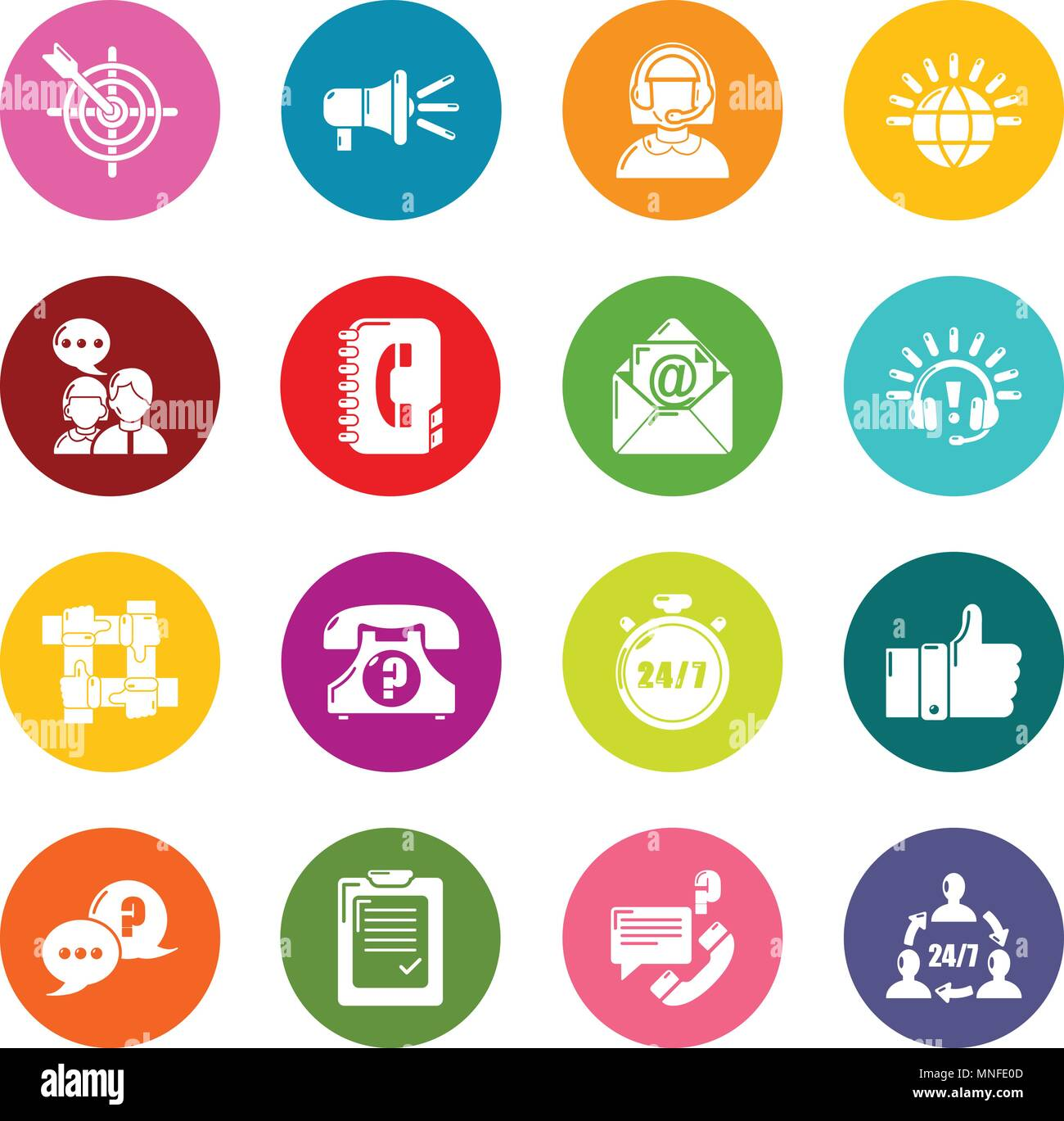 Call center icons set colorful circles vector Stock Vector