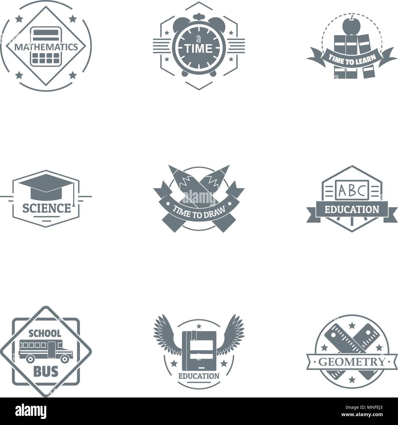 Whole school logo set, simple style - Stock Image
