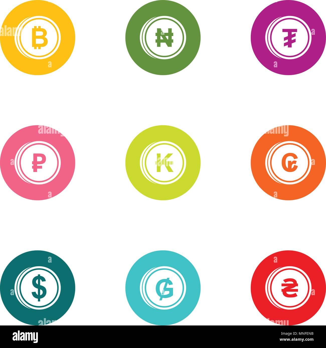 Loot icons set, flat style - Stock Image