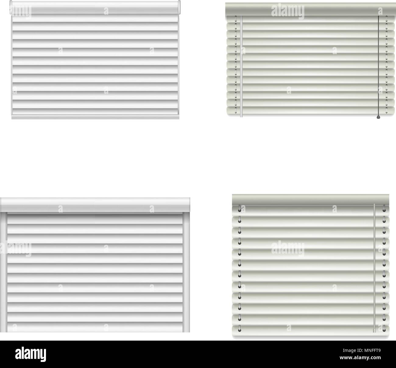 Blind window curtains mockup set, realistic style - Stock Vector