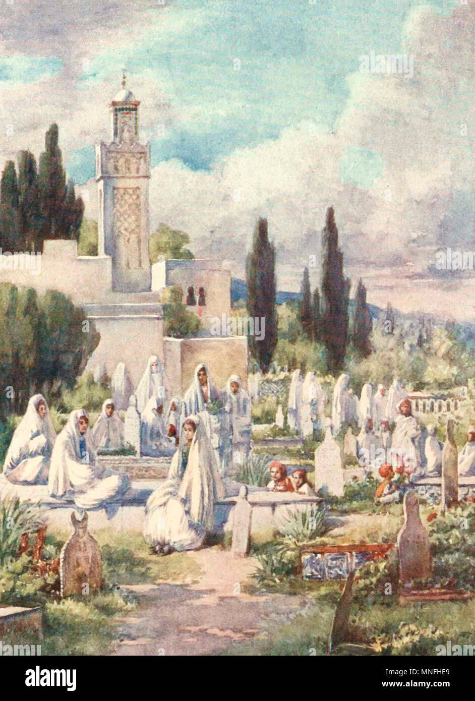 Friday at the Cemetery, Algiers, Algeria, circa 1906 - Stock Image
