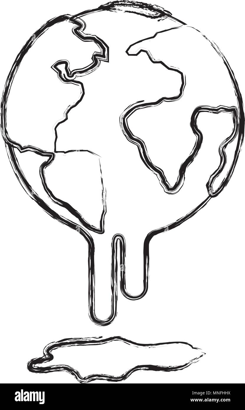 planet earth melting to global warming - Stock Vector