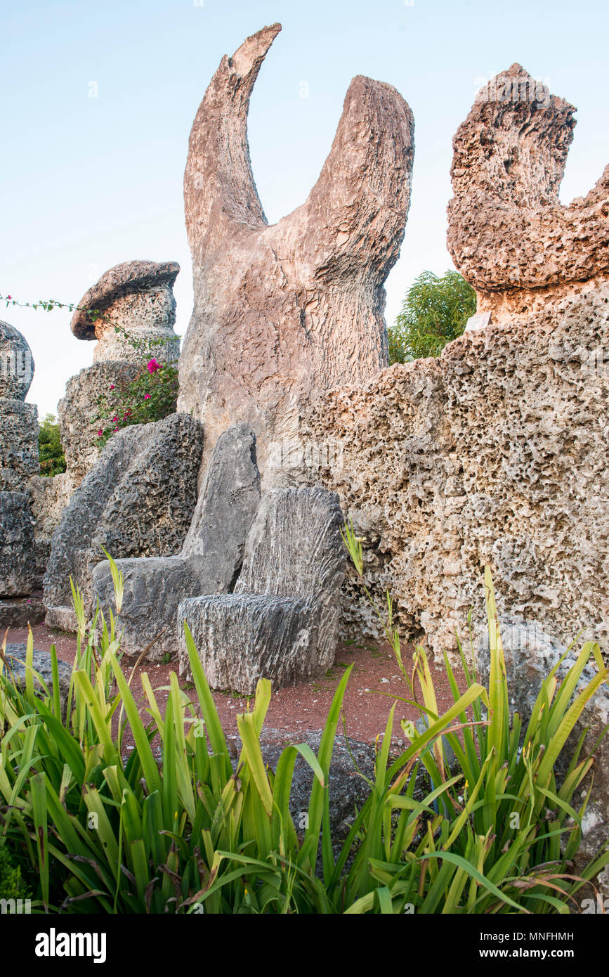 Famous Coral Castle's Planet Corner, with the large moon-like 12-ton crescent representing Venus and the smaller crescent as Mercury, - Stock Image