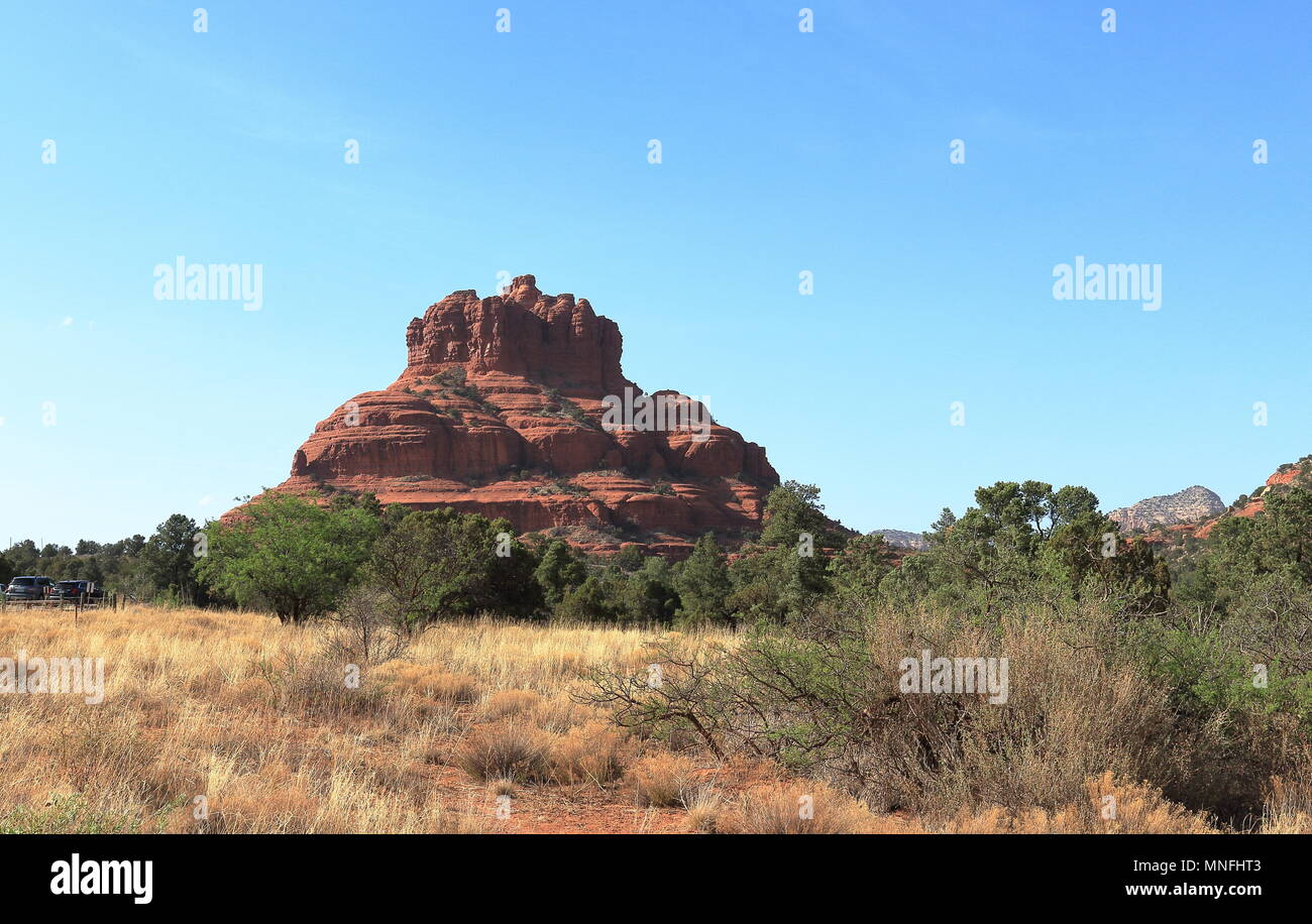 The Bell Rock, landmark butte rock formation near the town of Oak Creek south of Sedona, Arizona. Stock Photo
