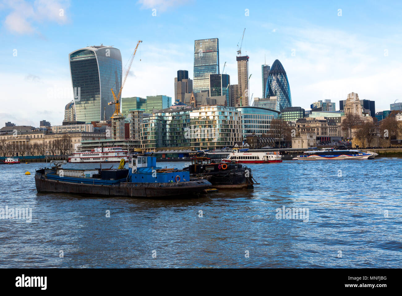 City of London, Financial Services Companies headquarters, The Leadenhall Building, The Gherkin view from south side of River Thames, London, UK, 11 D - Stock Image
