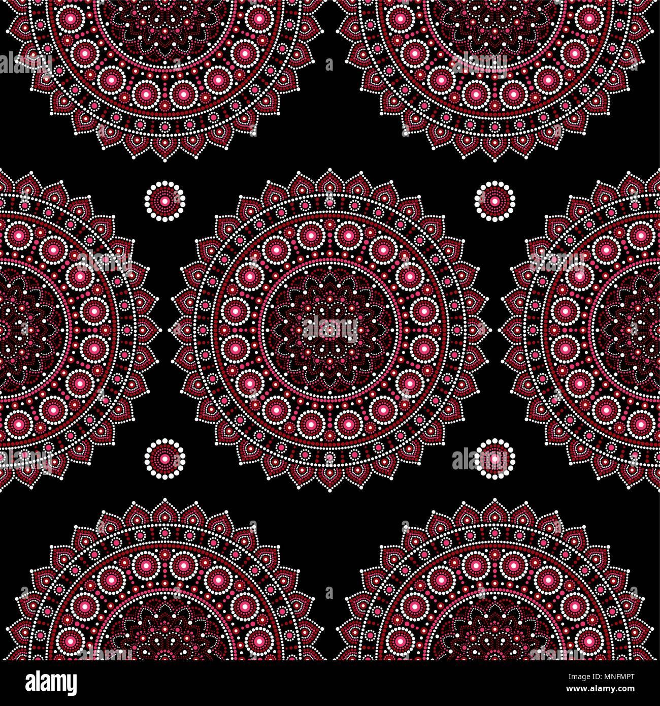 Mandala Vector Seamless Pattern Aboriginal Dot Painting Design Australian Folk Art Boho Style Repetitive Background Mandalas Decoration In Pink