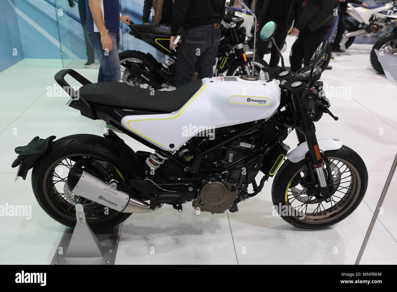 ISTANBUL, TURKEY - FEBRUARY 25, 2018: Husqvarna Motorcycle on display at Motobike Istanbul in Istanbul Exhibition Center - Stock Image