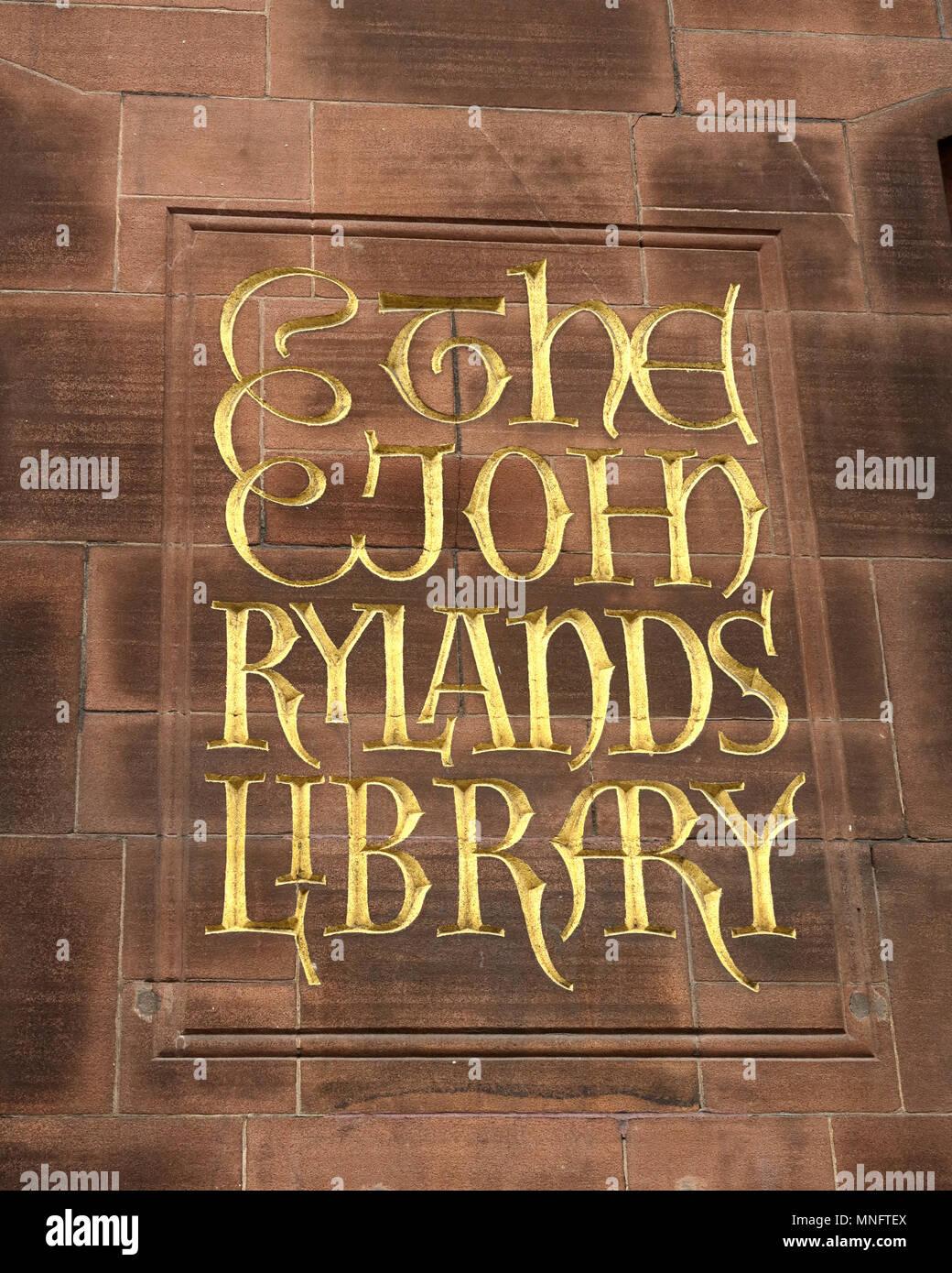 John Rylands Library, Deansgate, Manchester, Lancashire, England, UK - Stock Image